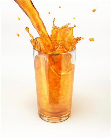 pouring - Glass or orange juice, computer artwork. Stock Photo - Premium Royalty-Free, Code: 679-07604876