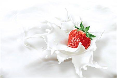 strawberries - Strawberry falling into milk, computer artwork. Stock Photo - Premium Royalty-Free, Code: 679-07604873