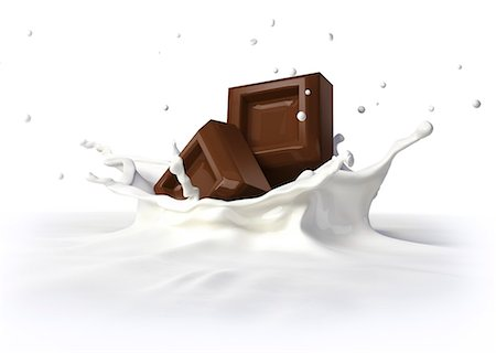 square - Chocolate falling into milk, computer artwork. Stock Photo - Premium Royalty-Free, Code: 679-07604885