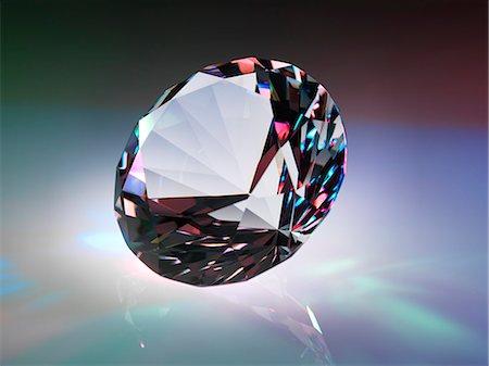 refraction - Diamond refracting light. Stock Photo - Premium Royalty-Free, Code: 679-07607676