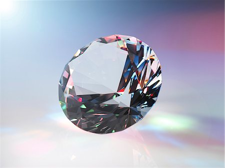 refraction - Diamond refracting light. Stock Photo - Premium Royalty-Free, Code: 679-07607677