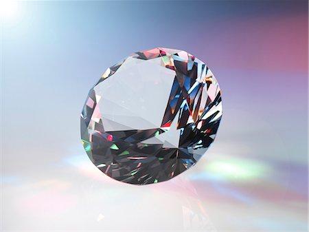 expensive jewelry - Diamond refracting light. Stock Photo - Premium Royalty-Free, Code: 679-07607677