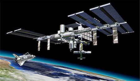 space - International space station and shuttle, artwork. Stock Photo - Premium Royalty-Free, Code: 679-07607684
