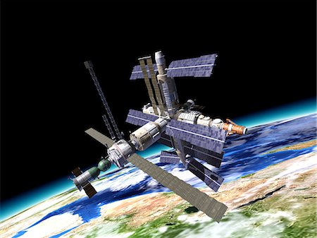 space - Space station in Earth orbit, artwork. Stock Photo - Premium Royalty-Free, Code: 679-07607682