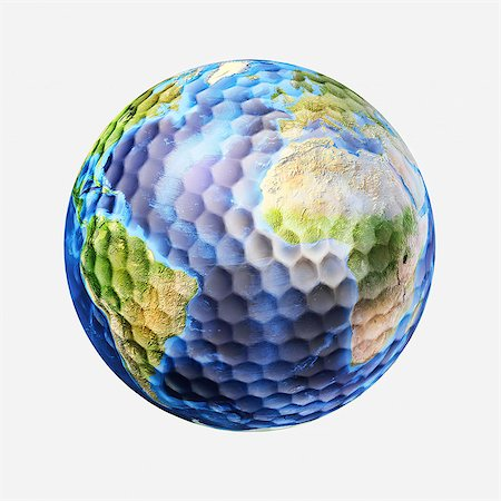Golf ball Earth, artwork. Stock Photo - Premium Royalty-Free, Code: 679-07607729