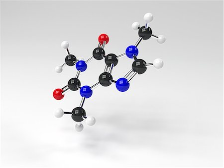Caffeine molecule. Computer artwork showing the structure of a molecule of the alkaloid stimulant and legal drug caffeine. Caffeine is found in drinks such as tea, coffee, and fizzy drinks. It is also found in chocolate. Atoms are represented as spheres and are colour-coded: carbon (black), hydrogen (white), nitrogen (blue), and oxygen (red). Stock Photo - Premium Royalty-Free, Code: 679-07607899