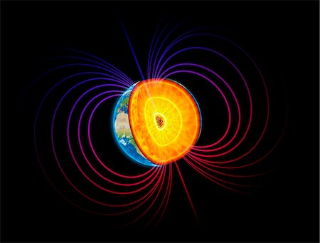Artwork of the earth's core and magnetosphere. Stock Photo - Premium Royalty-Free, Code: 679-07607967