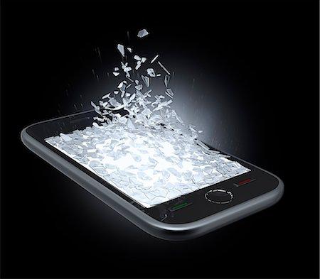 Broken smartphone screen, artwork. Stock Photo - Premium Royalty-Free, Code: 679-07607962