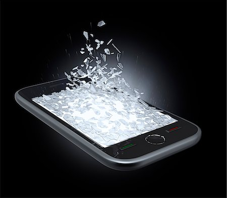 Broken smartphone screen, artwork. Stock Photo - Premium Royalty-Free, Code: 679-07607962
