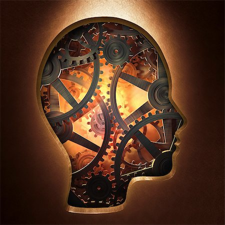 Artwork of cogs representing the human mind, psychology concept. Stock Photo - Premium Royalty-Free, Code: 679-07607978