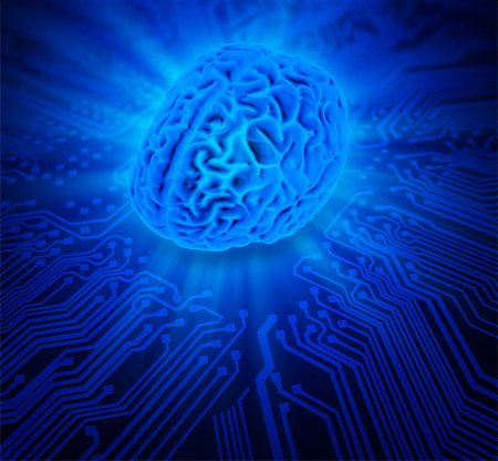 Artwork of the human brain on a circuit board. Stock Photo - Premium Royalty-Free, Code: 679-07607979