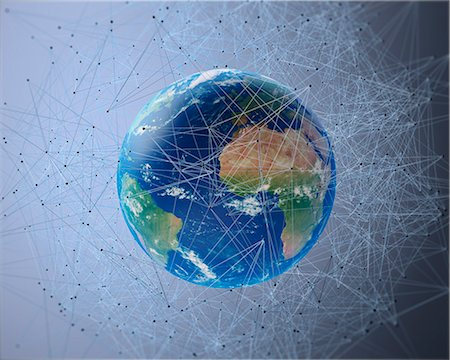 Artwork of the earth, communication network concept. Stock Photo - Premium Royalty-Free, Code: 679-07607988