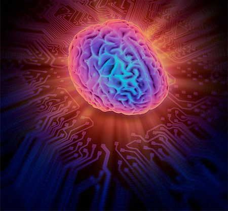 Artwork of the human brain on a circuit board. Stock Photo - Premium Royalty-Free, Code: 679-07607980