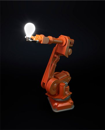 energia - Artwork of robotic equipment holding a lightbulb. Fotografie stock - Premium Royalty-Free, Codice: 679-07607982