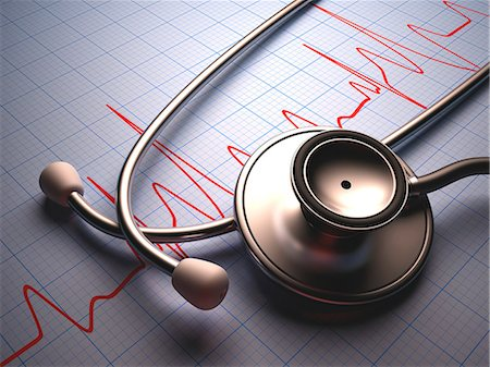 Stethoscope and cardiograph. Stock Photo - Premium Royalty-Free, Code: 679-07608091