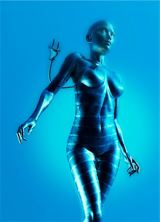 erotic female figures - Artwork of female cyborg against a blue background. Stock Photo - Premium Royalty-Free, Code: 679-07608143