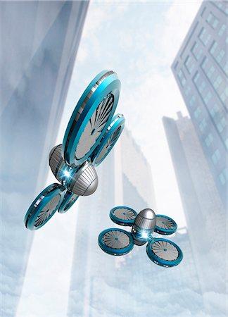 Artwork of nano spy drones in the sky. Stock Photo - Premium Royalty-Free, Code: 679-07608159
