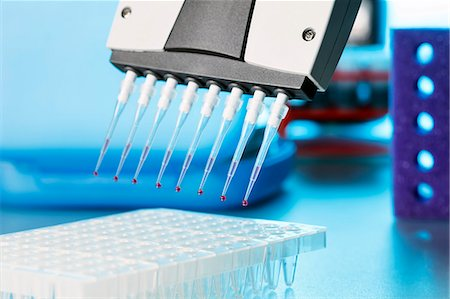 dripping blood - Multi pipette dripping blood samples into vials. Stock Photo - Premium Royalty-Free, Code: 679-07608193