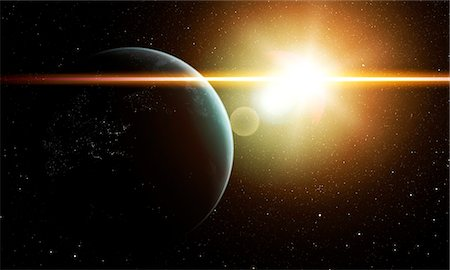 space - Earth and Sun, computer artwork. Stock Photo - Premium Royalty-Free, Code: 679-07603187