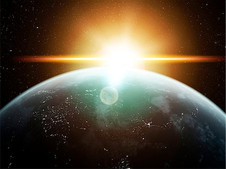 space - Earth and Sun, computer artwork. Stock Photo - Premium Royalty-Free, Code: 679-07603180