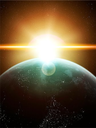 space - Earth and Sun, computer artwork. Stock Photo - Premium Royalty-Free, Code: 679-07603182