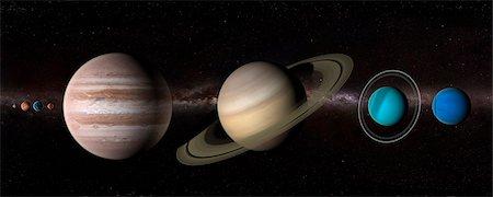 Solar system, computer artwork. Stock Photo - Premium Royalty-Free, Code: 679-07603289