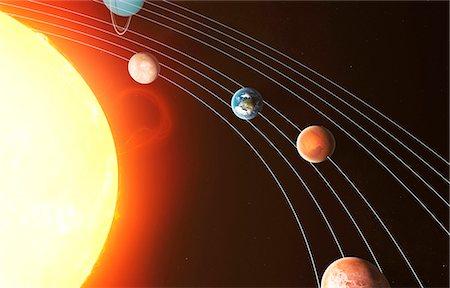 Solar system, computer artwork. Stock Photo - Premium Royalty-Free, Code: 679-07603294
