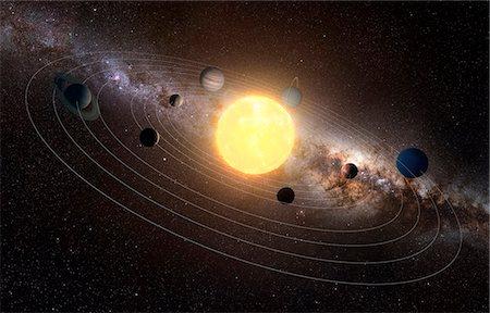 Solar system, computer artwork. Stock Photo - Premium Royalty-Free, Code: 679-07603290