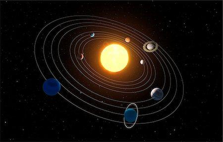 Solar system, computer artwork. Stock Photo - Premium Royalty-Free, Code: 679-07603292