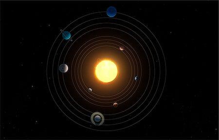 Solar system, computer artwork. Stock Photo - Premium Royalty-Free, Code: 679-07603293
