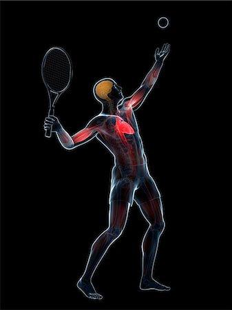 Tennis player, computer artwork. Stock Photo - Premium Royalty-Free, Code: 679-07603347