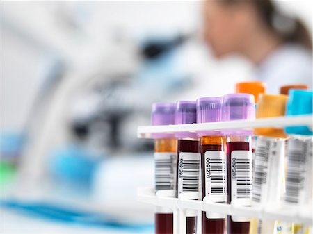 Blood samples in test tube rack with bar codes. Stock Photo - Premium Royalty-Free, Code: 679-07732314