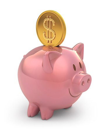 Piggy bank with gold coin, computer artwork. Stock Photo - Premium Royalty-Free, Code: 679-07732368