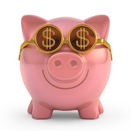 Piggy bank with gold coin sunglasses, computer artwork. Stock Photo - Premium Royalty-Free, Code: 679-07732369