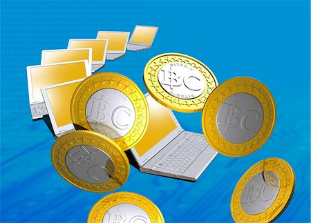 device - Bitcoins and laptops, computer artwork. Stock Photo - Premium Royalty-Free, Code: 679-07764132