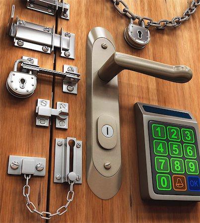 Door with various locks, conceptual artwork, Stock Photo - Premium Royalty-Free, Code: 679-07764698
