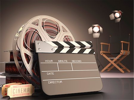 production - Clapperboard and cinema film reel, computer artwork. Stock Photo - Premium Royalty-Free, Code: 679-07764700