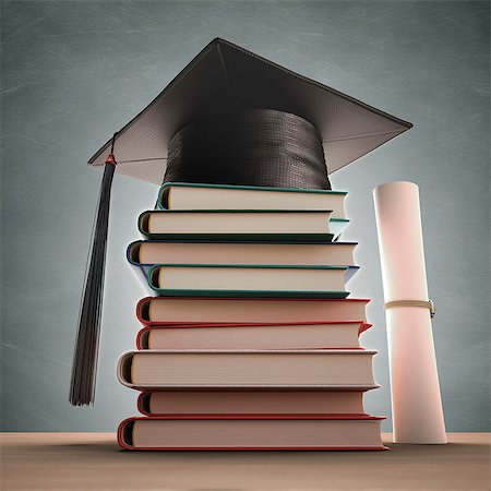 Mortar board on a stack of books, computer artwork. Stock Photo - Premium Royalty-Free, Code: 679-07764736