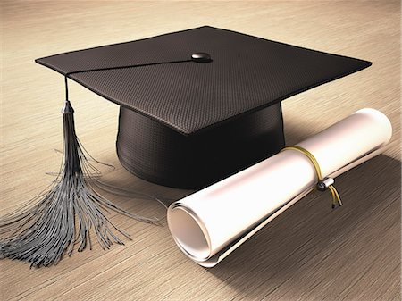 Graduation certificate and mortar board, computer artwork. Stock Photo - Premium Royalty-Free, Code: 679-07764733