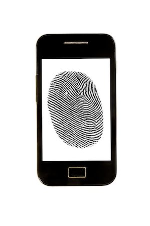 Smartphone with finger print. Stock Photo - Premium Royalty-Free, Code: 679-07764923