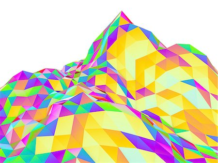 shape - Abstract landscape of polygons, computer artwork. Stock Photo - Premium Royalty-Free, Code: 679-07764931