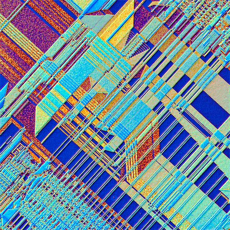elements (weather) - Computer chip. Coloured light micrograph of the surface of an integrated chip from a computer. This integrated circuit has been made by imprinting microscopic electronic components onto the surface of a wafer of silicon. Integrated circuits can be made much smaller than non- integrated circuits, which have to consist of separate components. Magnification 60x at 6x6cm size Stock Photo - Premium Royalty-Free, Code: 679-07765953