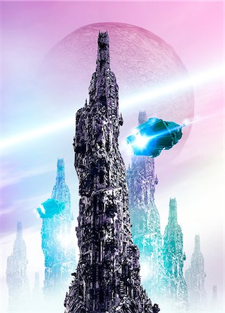 spaceship - Space craft and cityscape Stock Photo - Premium Royalty-Free, Code: 679-07814063