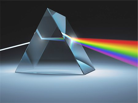 refraction - Prism and rainbow, computer artwork. Stock Photo - Premium Royalty-Free, Code: 679-07846056