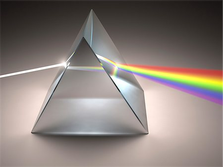 refraction - Prism and rainbow, computer artwork. Stock Photo - Premium Royalty-Free, Code: 679-07846057