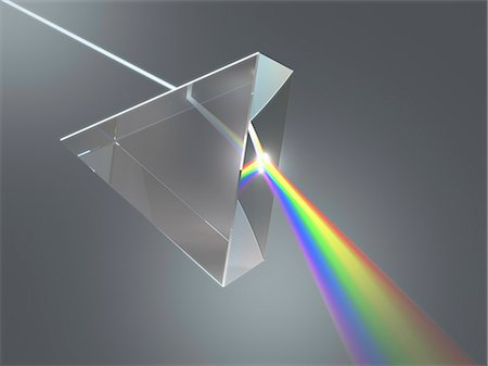 refraction - Prism and rainbow, computer artwork. Stock Photo - Premium Royalty-Free, Code: 679-07846058