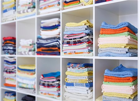 fabric - Folded towels on shelves. Stock Photo - Premium Royalty-Free, Code: 679-07846079