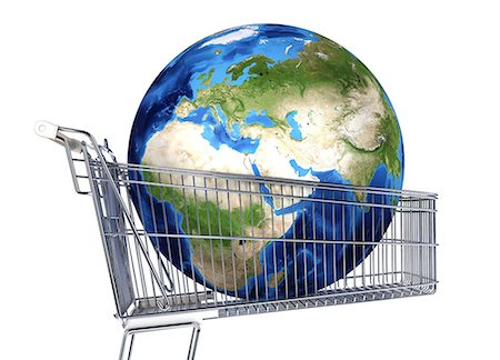 The globe inside a supermarket shopping trolley, computer artwork. Stock Photo - Premium Royalty-Free, Code: 679-07846184