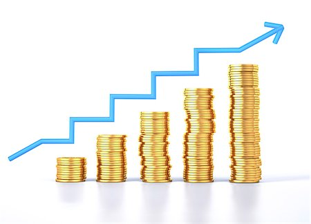 finance - Gold coins and a growth chart, computer artwork. Stock Photo - Premium Royalty-Free, Code: 679-07846185