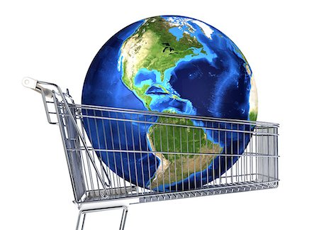 The globe inside a supermarket shopping trolley, computer artwork. Stock Photo - Premium Royalty-Free, Code: 679-07846182